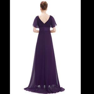 dd36a022ff4 Dresses - Long Empire Waist Evening Dress w  Flutter Sleeves